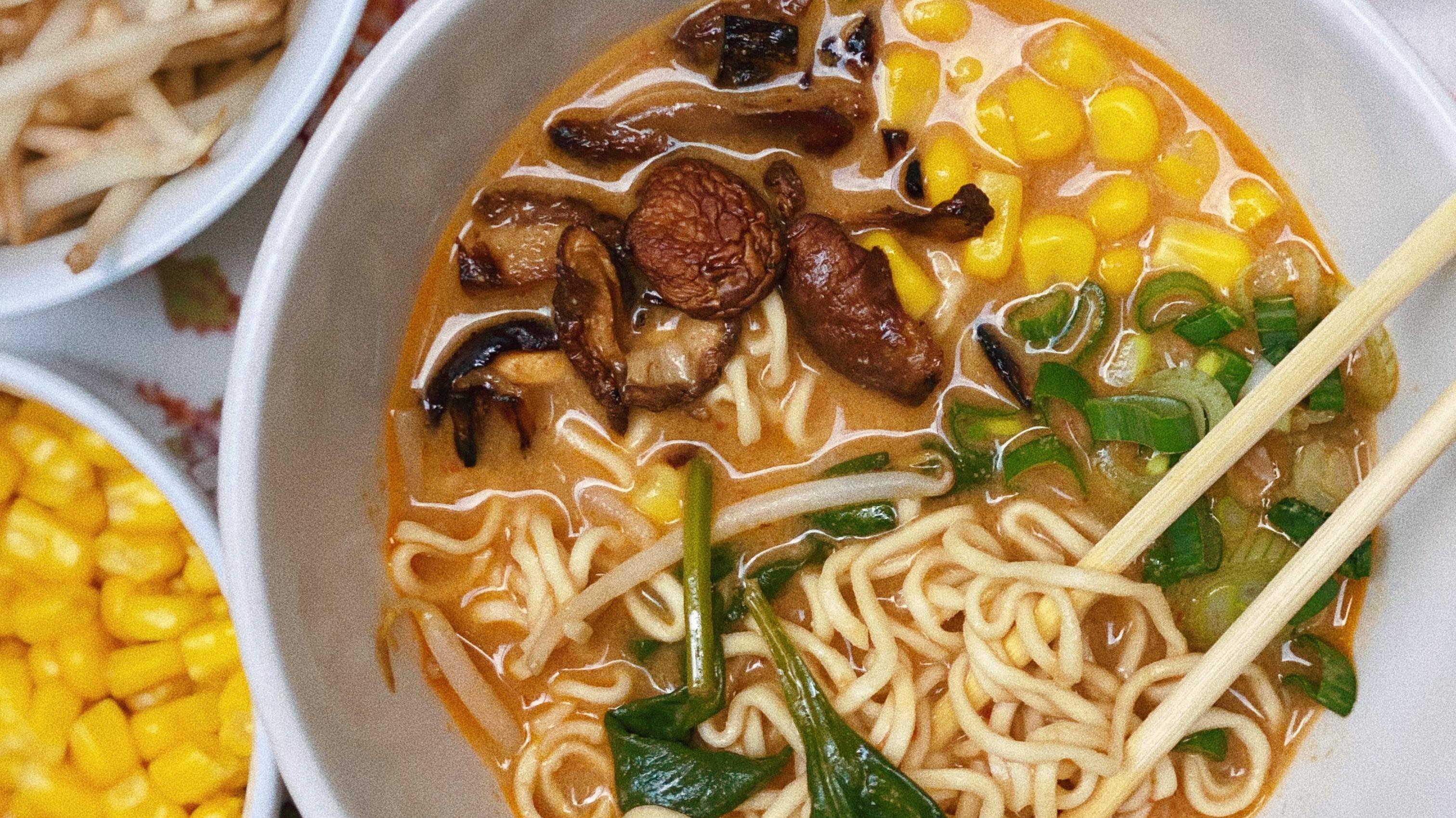 creamy spicy miso mushroom ramen featured